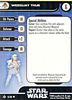 Star Wars Miniature Stat Card - Weequay Thug, #51 - Common