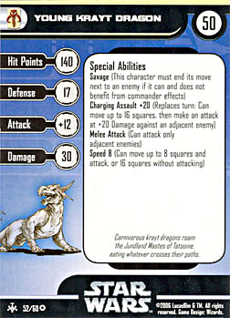 Star Wars Miniature Stat Card - Young Krayt Dragon, #52 - Very Rare