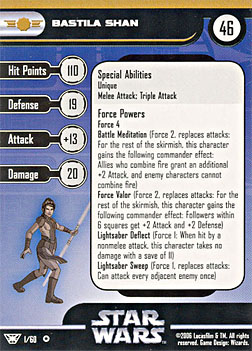 Star Wars Miniature Stat Card - Bastila Shan, #1 - Very Rare