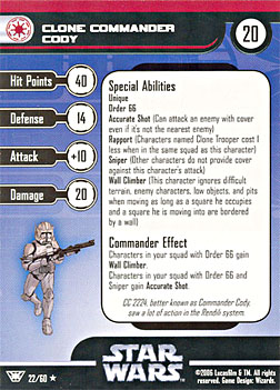 Star Wars Miniature Stat Card - Clone Commander Cody, #22 - Rare