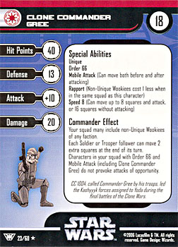 Star Wars Miniature Stat Card - Clone Commander Gree, #23 - Rare