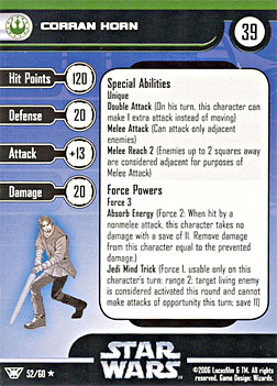 Star Wars Miniature Stat Card - Corran Horn, #52 - Rare