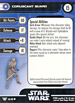 Star Wars Miniature Stat Card - Coruscant Guard, #46 - Common