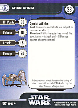 Star Wars Miniature Stat Card - Crab Droid, #39 - Uncommon
