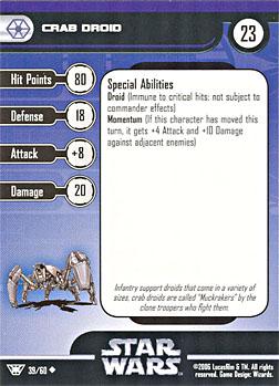 Star Wars Miniature Stat Card - Crab Droid, #39 - Uncommon