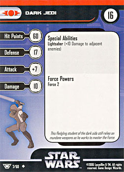 Star Wars Miniature Stat Card - Dark Jedi, #7 - Uncommon