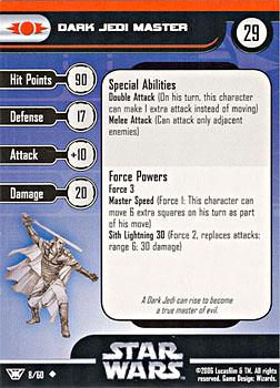 Star Wars Miniature Stat Card - Dark Jedi Master, #8 - Uncommon