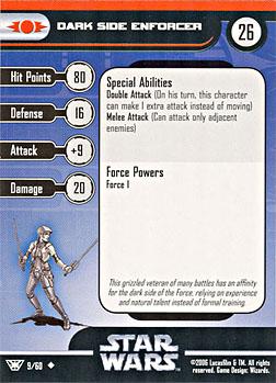 Star Wars Miniature Stat Card - Dark Side Enforcer, #9 - Uncommon