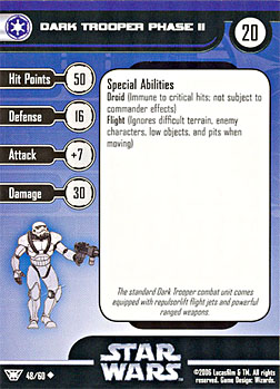 Star Wars Miniature Stat Card - Dark Trooper Phase II, #48 - Uncommon