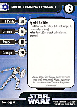 Star Wars Miniature Stat Card - Dark Trooper Phase I, #47 - Common