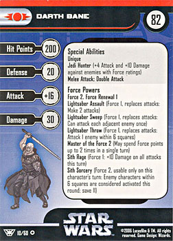 Star Wars Miniature Stat Card - Darth Bane, #10 - Very Rare