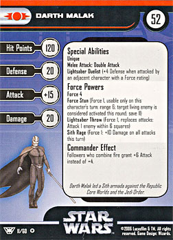 Star Wars Miniature Stat Card - Darth Malak, #11 - Very Rare