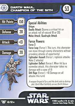 Star Wars Miniature Stat Card - Darth Maul, Champion of the Sith, #40 - Rare