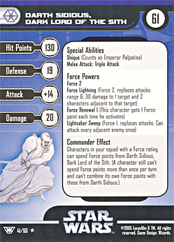 Star Wars Miniature Stat Card - Darth Sidious, Dark Lord of the Sith, #41 - Rare