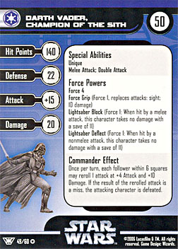 Star Wars Miniature Stat Card - Darth Vader, Champion of the Sith, #49 - Very Rare