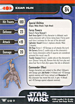 Star Wars Miniature Stat Card - Exar Kun, #13 - Very Rare