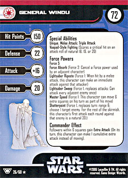 Star Wars Miniature Stat Card - General Windu, #26 - Rare