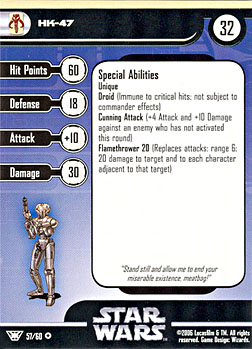 Star Wars Miniature Stat Card - HK-47, #57 - Very Rare