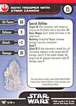 Star Wars Miniature Stat Card - Hoth Trooper with Atgar Cannon, #43 - Rare