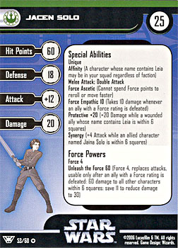 Star Wars Miniature Stat Card - Jacen Solo, #53 - Very Rare