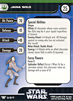 Star Wars Miniature Stat Card - Jaina Solo, #54 - Very Rare