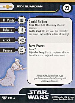 Star Wars Miniature Stat Card - Jedi Guardian, #3 - Uncommon
