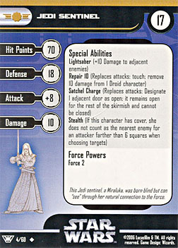 Star Wars Miniature Stat Card - Jedi Sentinel, #4 - Uncommon