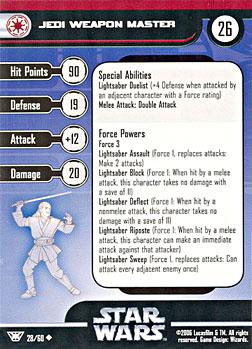 Star Wars Miniature Stat Card - Jedi Weapon Master, #28 - Uncommon