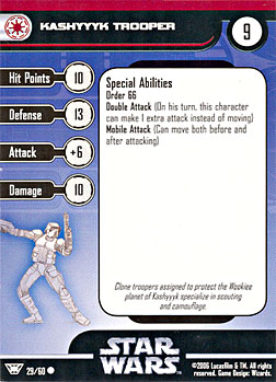 Star Wars Miniature Stat Card - Kashyyyk Trooper, #29 - Common