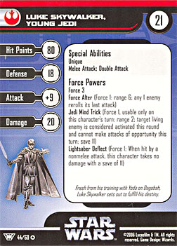 Star Wars Miniature Stat Card - Luke Skywalker, Young Jedi, #44 - Very Rare