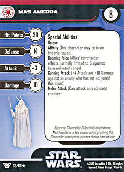 Star Wars Miniature Stat Card - Mas Amedda, #30 - Rare