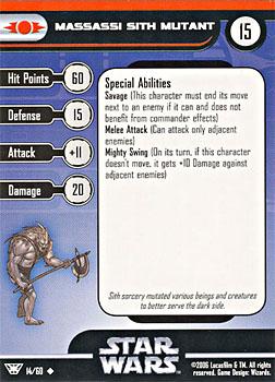Star Wars Miniature Stat Card - Massassi Sith Mutant, #14 - Uncommon