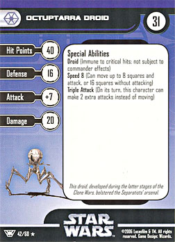 Star Wars Miniature Stat Card - Octuptarra Droid, #42 - Rare