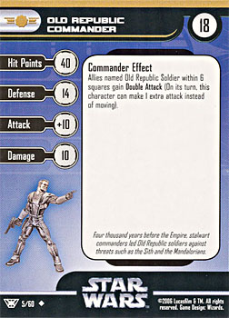 Star Wars Miniature Stat Card - Old Republic Commander, #5 - Uncommon