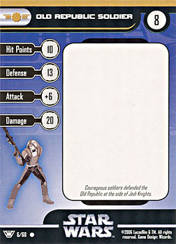 Star Wars Miniature Stat Card - Old Republic Soldier, #6 - Common