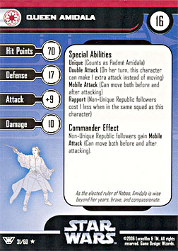 Star Wars Miniature Stat Card - Queen Amidala, #31 - Rare