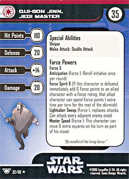 Star Wars Miniature Stat Card - Qui-Gon Jinn, Jedi Master, #32 - Rare