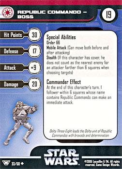 Star Wars Miniature Stat Card - Republic Commando - Boss, #33 - Uncommon