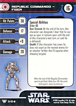 Star Wars Miniature Stat Card - Republic Commando - Fixer, #34 - Common