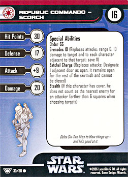 Star Wars Miniature Stat Card - Republic Commando - Scorch, #35 - Common