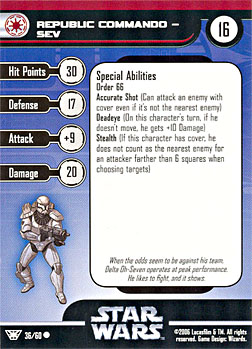 Star Wars Miniature Stat Card - Republic Commando - Sev, #36 - Common