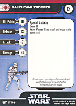 Star Wars Miniature Stat Card - Saleucami Trooper, #37 - Common