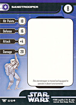 Star Wars Miniature Stat Card - Sandtrooper, #50 - Common