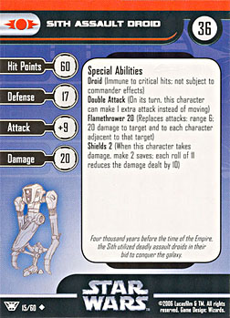 Star Wars Miniature Stat Card - Sith Assault Droid, #15 - Uncommon