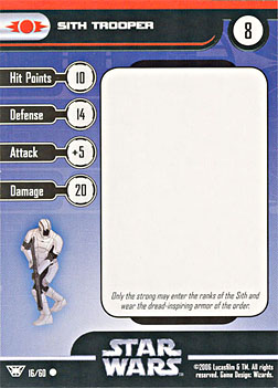 Star Wars Miniature Stat Card - Sith Trooper #16, #16 - Common