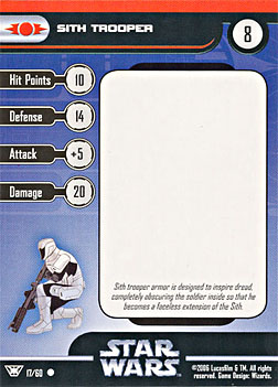 Star Wars Miniature Stat Card - Sith Trooper #17, #17 - Common