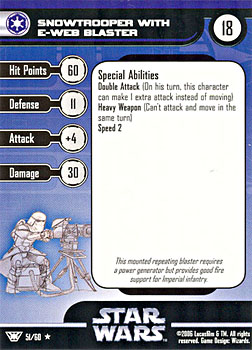 Star Wars Miniature Stat Card - Snowtrooper with E-Web Blaster, #51 - Rare