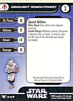 Star Wars Miniature Stat Card - Ugnaught Demolitionist, #59 - Common