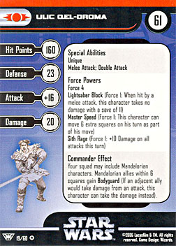 Star Wars Miniature Stat Card - Ulic Qel-Droma, #19 - Very Rare