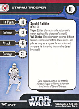 Star Wars Miniature Stat Card - Utapau Trooper, #38 - Common